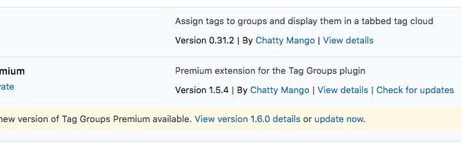 Screenshot - Tag Groups Premium - Updates - WordPress