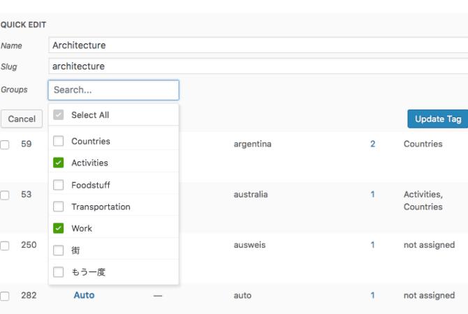 Wordpress - Edit Tags - multiple groups