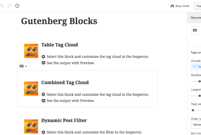 Screenshot dynamic tag cloud Gutenberg Blocks - WordPress
