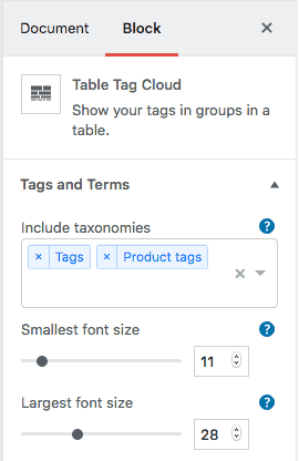 WordPress - Gutenberg - Tag Groups Premium block