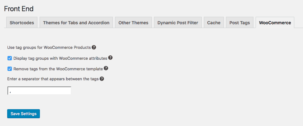 Screenshot WooCommerce tags as attributes