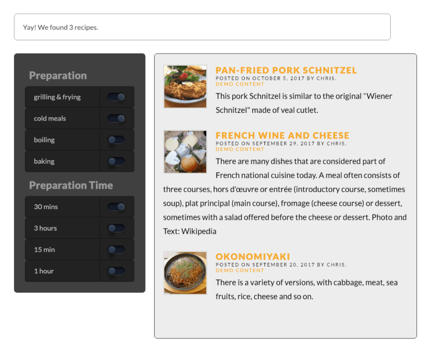 DPF Toggle post filter dark theme - WordPress plugin