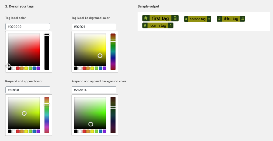 screenshot of the tag color wizard